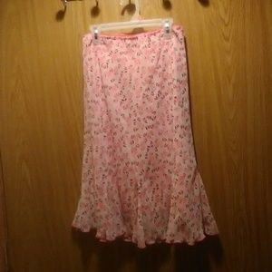 Dressbarn Pink Flowered Fit And Flare Skirt